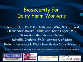 Biosecurity  for  Dairy Farm Workers