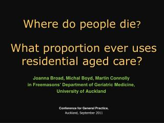 Where do people die ? What proportion ever uses residential aged care?