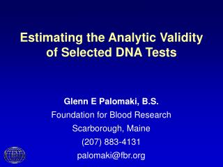 Estimating the Analytic Validity of Selected DNA Tests