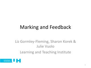Marking and Feedback