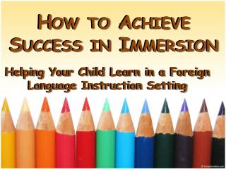 How to Achieve Success in Immersion