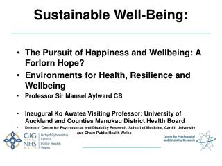 Sustainable Well-Being: