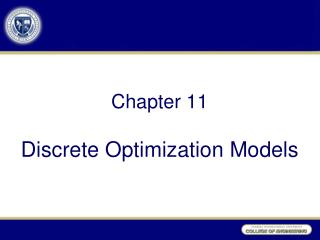 Chapter  11 Discrete Optimization Models