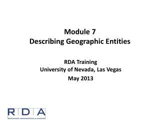 Module  7 Describing Geographic Entities