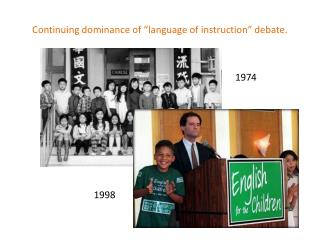 "Continuing dominance of ""language of instruction"" debate."