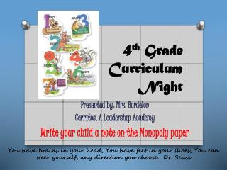 4 th  Grade  Curriculum  Night