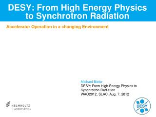DESY: From High Energy Physics to  Synchrotron Radiation