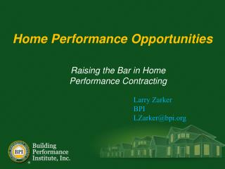 Home Performance Opportunities