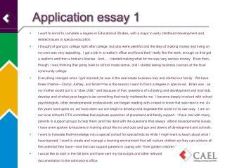 Application essay 1