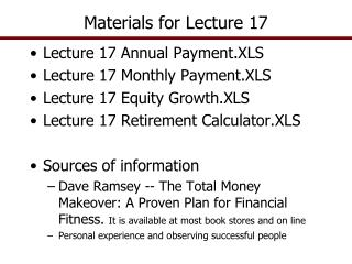 Materials for Lecture 17