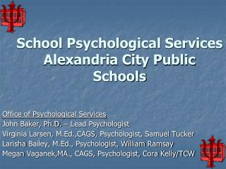School Psychological Services  Alexandria City Public Schools