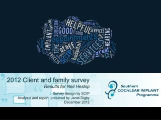2012 Client and family survey  Results for Neil Heslop Survey  design by SCIP Analysis and report  prepared by Janet Di