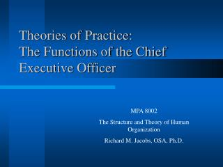 Theories of Practice: The Functions of the Chief Executive Officer