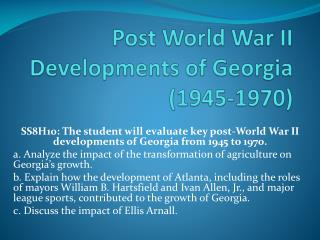 Post World War II Developments of Georgia (1945-1970)