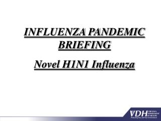 INFLUENZA PANDEMIC BRIEFING  Novel H1N1 Influenza
