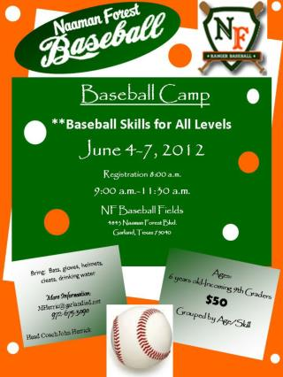 Baseball Camp **Baseball Skills for All Levels June 4-7, 2012 Registration 8:00 a.m. 9:00 a.m.-11:30 a.m. NF Baseball Fi