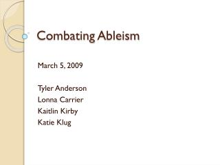 Combating  Ableism