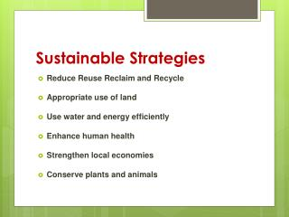 Sustainable Strategies