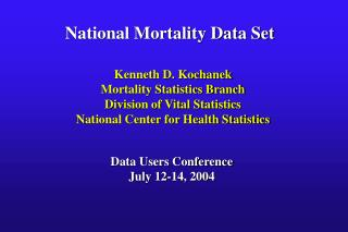 National Mortality Data Set