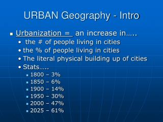 URBAN Geography - Intro