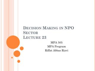 Decision Making in NPO Sector  Lecture  23