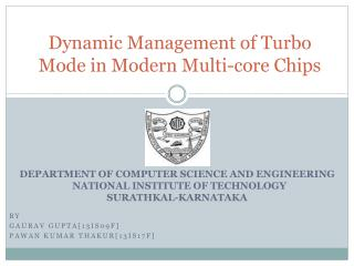 Dynamic Management of  Turbo  Mode  in Modern Multi-core Chips