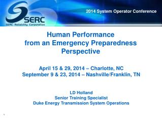 Human Performance  from an  Emergency Preparedness Perspective