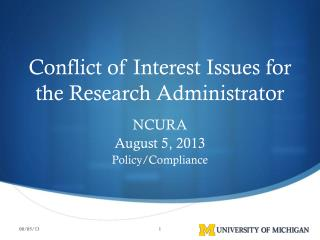 Conflict of Interest Issues for the Research Administrator