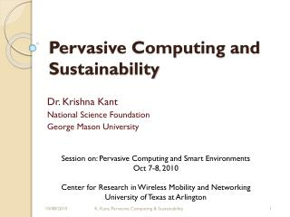 Pervasive Computing and Sustainability