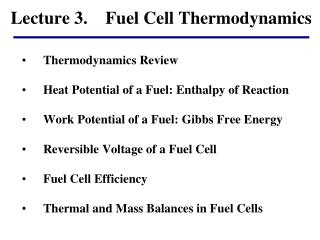 Lecture 3.    Fuel Cell Thermodynamics