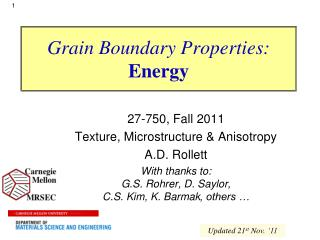 Grain Boundary Properties: Energy