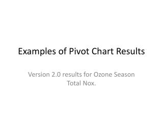 Examples of Pivot Chart Results