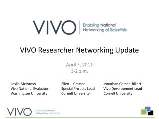 VIVO Researcher Networking Update
