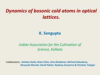 Dynamics of  bosonic  cold atoms in optical lattices.