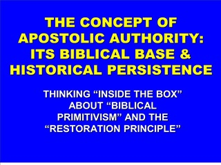 the concept of apostolic authority: its biblical base  historical persistence