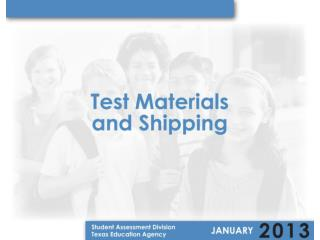 Test Materials Aids/Tools Available Distribution Model Additional Orders