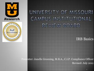 University of Missouri Campus institutional review board