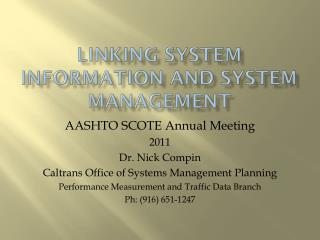 Linking System Information and System  Management