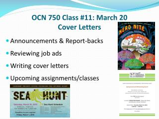 OCN 750 Class #11: March 20  Cover Letters