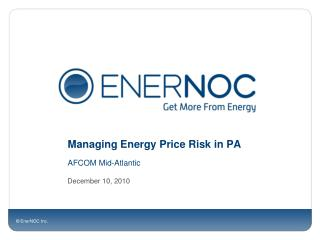 Managing Energy Price Risk in PA