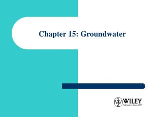 Chapter 15: Groundwater