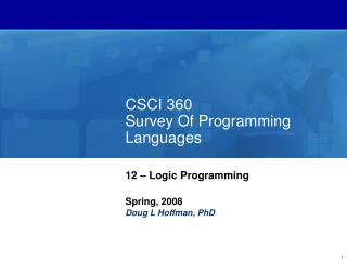 CSCI 360 Survey Of Programming Languages