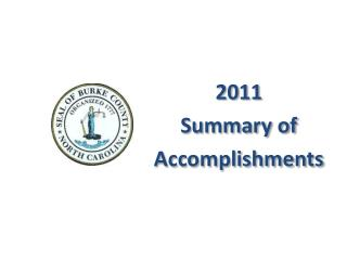 2011 Summary of Accomplishments