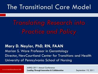 AHRQ 2011  Annual  Conference Leading  Through Innovation &  Collaboration		 September 19, 2011