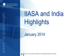 IIASA and India Highlights