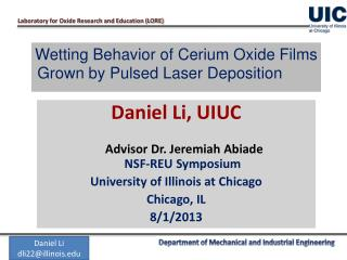 Wetting Behavior of Cerium Oxide Films Grown by Pulsed Laser Deposition