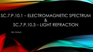 SC.7.P.10.1 – Electromagnetic spectrum  & sc.7.p.10.3 – light refraction