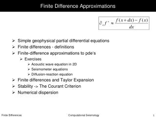 Finite Difference Approximations