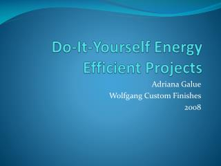 Do-It-Yourself  Energy Efficient  Projects