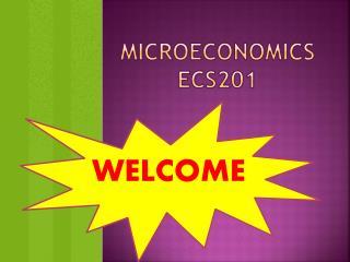 MICROECONOMICS ECS201